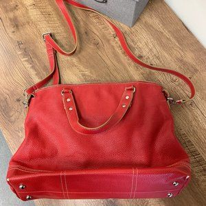 NINE WEST RED LEATHER CARRY ALL BAG